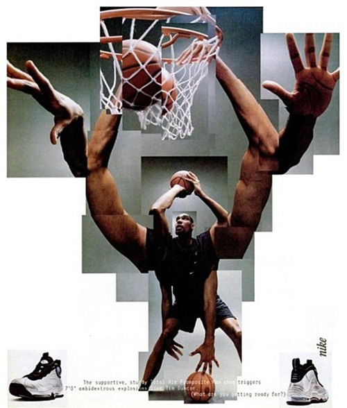 I hate him but this is a cool ad.. Tim Duncan and his Nike Total Air Foamposite Max.. I want these so retro!