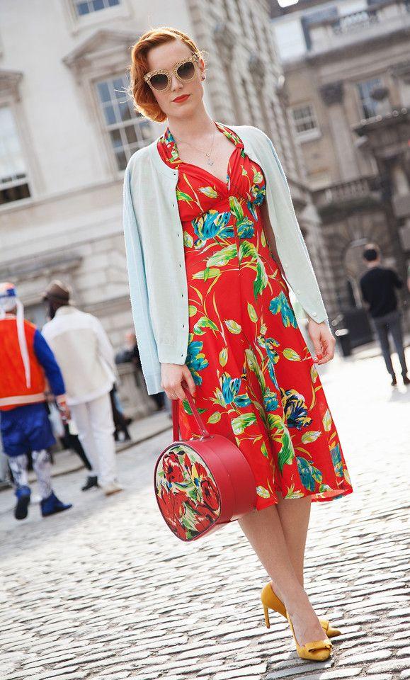 Dolce & Gabbana Filigree Sunglasses, Tara Starlet Floral Sweetheart Dress,  Zara Satin Courts, Vintage Hand Painted Vanity Case, & Other Stories Morino  ...