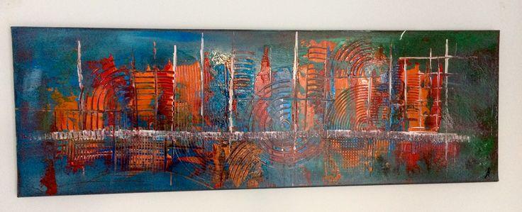 Dark City: Abstract acrylic painting by Bego Ayala