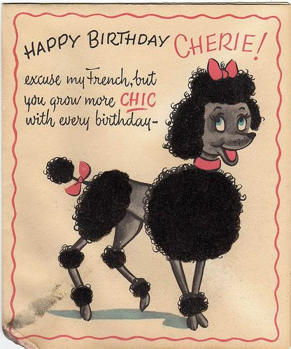 Poodle Birthday Card.