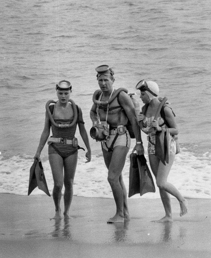 Vintage scuba diving, with Lloyd Bridges