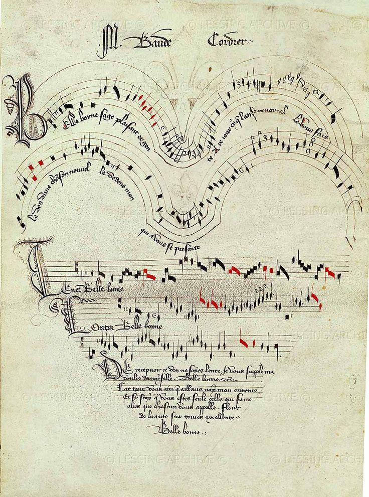"""idroolinmysleep:  Baude Cordier, score to the chanson """"Belle, bonne, sage,"""" Musée Condé, Château de Chantilly, Chantilly, Oise, France"""