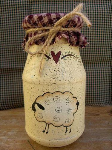Primitive-Sheep Jar with Homespun top