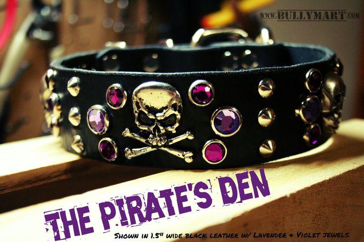 "Bully Mart - 1.5"" THE PIRATE'S DEN , $60.00 (http://stores.molossermart.com/custom-dog-collars/1-5-the-pirates-den/) #bullymart #rockabullgear"