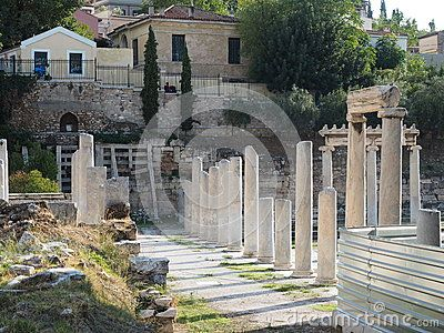 View of the stoa on the site of the Roman Agora under restoration in Plaka, Athens. Greece, 2015