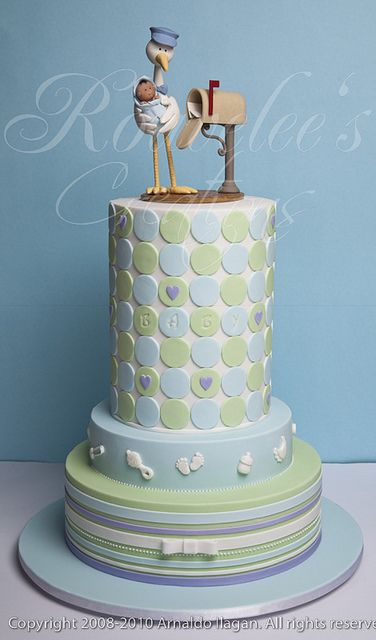 Baby shower cake in blue and green with stork topper