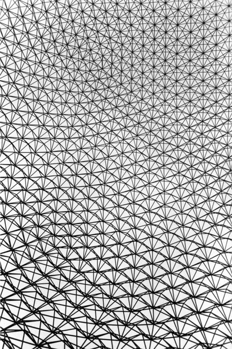 very large geodesic dome as the US pavilion at the Montreal Expo. Invented by R Buckminster Fuller, the geodesic some becomes lighter and stronger as it's size (and volume) increases! (1967)