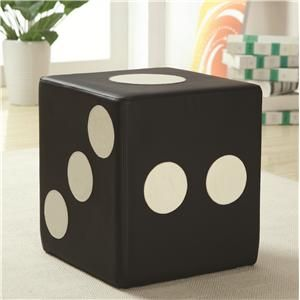 This is a Coaster ottoman!  It also comes in a fuzzy purple - how fun for a game room or kids room!