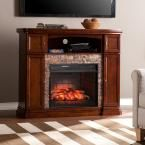 Westchester 47.5 in. W Faux Stone Infrared Electric Media Fireplace in Espresso (Brown)