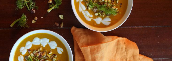 Carrot and Fennel Soup with Pistachios ~ a healthy comfort soup for any meal