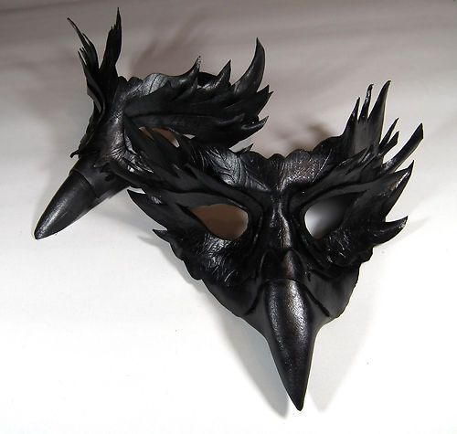 Raven Narrow Beak Handmade Leather Mask Venetian Masquerade. halloween