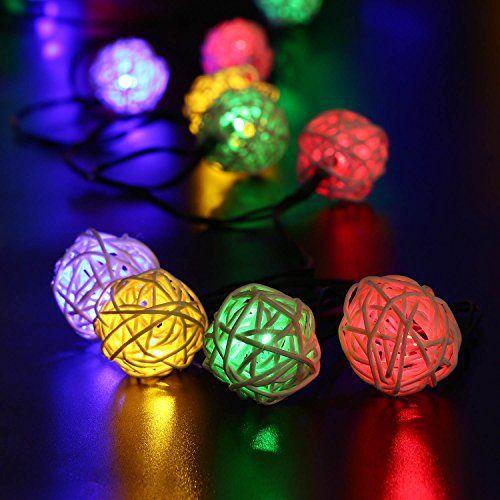 lederTEK Guirlande lumineuse solaire en forme de boule de rotin 6M 30 LEDs Lumière solaire de 8 modes Lampe Noël décorative pour…