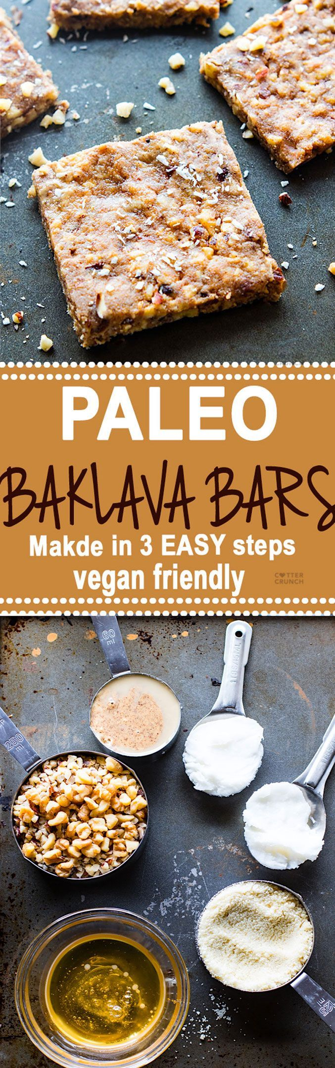 "Super easy 3 Step Paleo ""Baklava"" Bars! healthy vegan friendly bars that are packed full of sweet nutty flavor and healthy fats. Lower in carbs, sugar, and great for snacking. Tastes like dessert but made with simple real food! #paleo #grainfree #glutenfree"