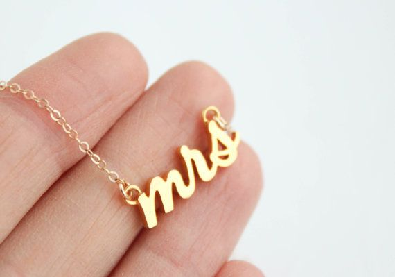 Mrs Necklace Gold Mrs Necklace Bridal Shower Gift by PROJECTDAHLIA