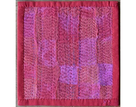 Textile Art – Pink Art – Wall Quilt – Wall Art – Cloth Weaving – Embroidery Art – Hand Stitched – Abstract Textile Art   – Costura