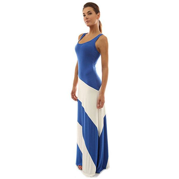 Women's Racerback Striped Maxi Dress ($14) ❤ liked on Polyvore featuring dresses, blue and ivory white, maxi dress, racer back maxi dress, stripe maxi dress, blue dress and striped dresses