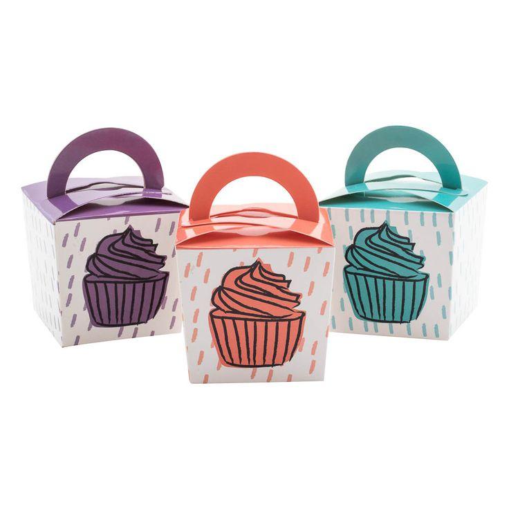 Set 9 cajas de cartón con diseño impreso para guardar muffins.
