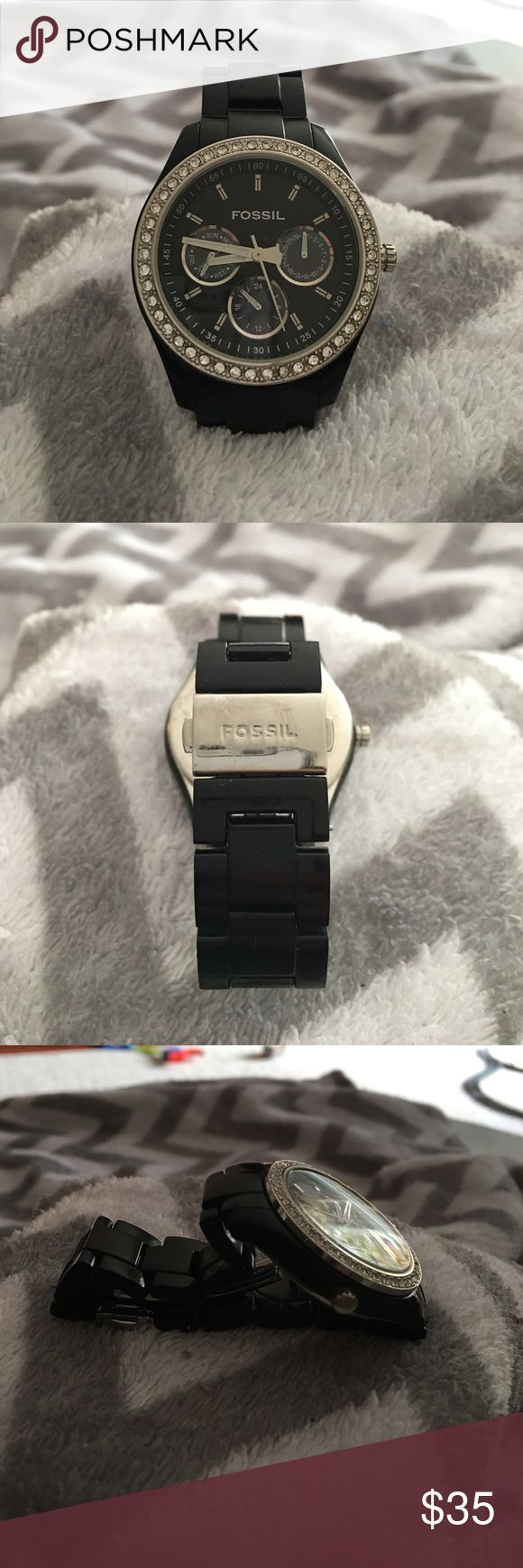 Black Fossil watch. Black Fossil watch. NEEDS BATTERY. Fossil Accessories Watches
