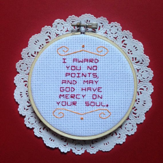 Custom Needlepoint Quote Lyrics Poem Funny by DuctTapeStitches