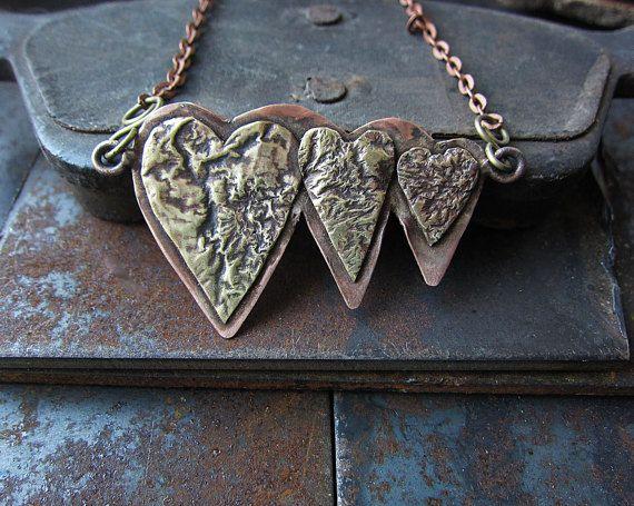 Copper and Brass Heart Boho Rustic Statement  by MaryBulanova
