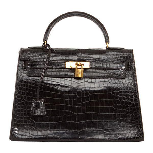 hermes kelly handbag - Hermes - HERMES Rare Black Crocodile GHW 32 cm Kelly Bag Authentic ...