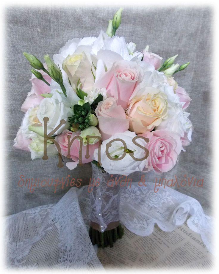 νυφικό μπουκέτο τριανταφυλλα ροζ σομων , λυσιανθο , μπουβαρδια -ανθοπωλείο κήπος