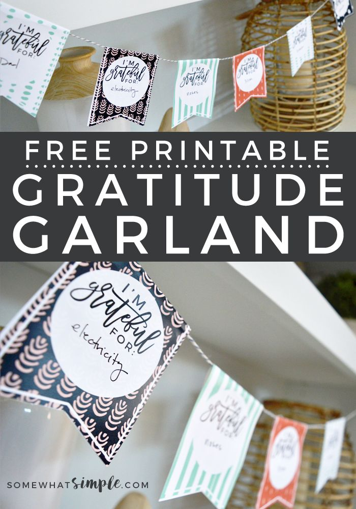This FREE printable Gratitude Garland craft is so simple and perfect for kids of all ages! And such a beautiful way to display all the things you're grateful for!