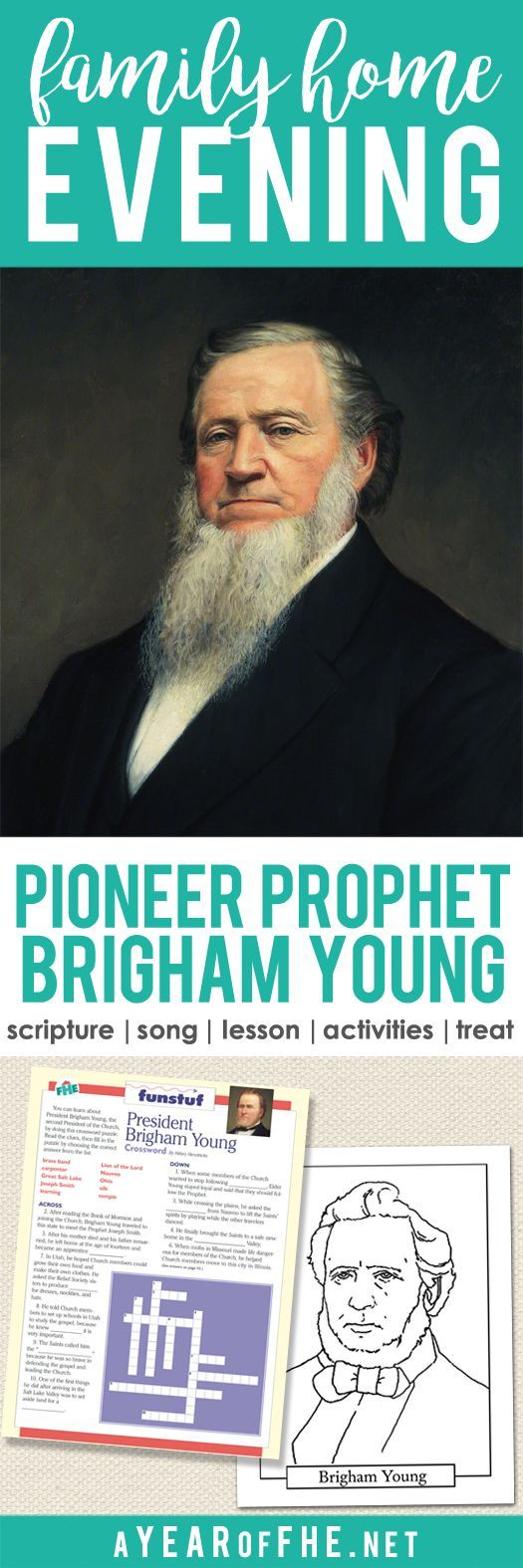 A Year of FHE // Check out this Family Home Evening about Brigham Young! It teaches small children how he led the church and how he led the Pioneers across the US to Utah.  Includes scripture, song, lesson, activities for small kids and older kids, and a treat that Brigham Young himself ate! Such a great lesson for Pioneer Day! #lds #brighamyoung #pioneers #fhe