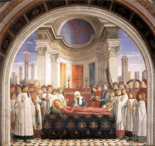 affresco del Ghirlandaio dedicato ai funerali di Santa Fina, collegiata di San Gimignano (Siena)