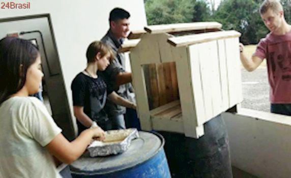 Estudantes de engenharia civil constroem casinhas para cães de abrigo em Joaçaba