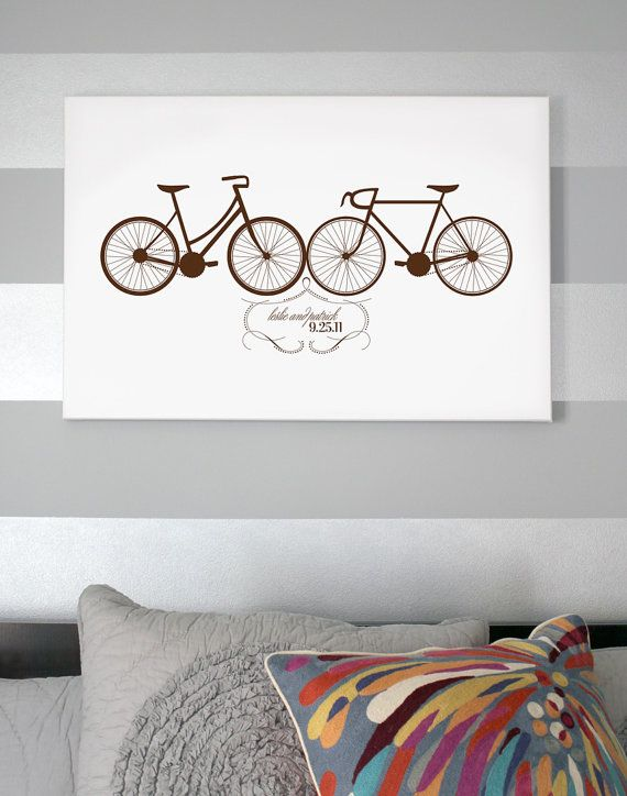 Custom Wedding Date Canvas with Bicycles by GracePenelopePrints