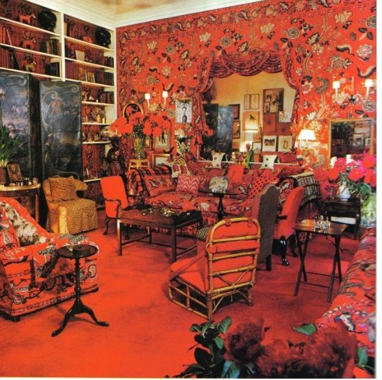 "26 ""I want this place to look like...a garden in hell' 1955  Diana Vreeland, for years Vogue editor,mentor to'60s models,designed her Park Avenue apartment - completely bloodred: colour of wickedness,Scarlet Woman:  Persian flowers draped the room. Masses of red pillows, a luscious scarlet carpet, red accessories. ""Red is the great clarifier–bright and revealing. I can't imagine becoming bored with red–it would be like becoming bored with the person you love."""
