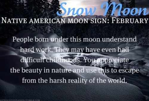 Native American Moon Sign: February Snow Moon  Didn't know there was native american astrology