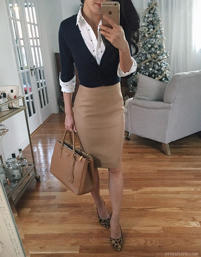 classic work outfit // cropped sweater (no tucking-in needed = no bulges!), polka dot shirt, camel pencil skirt, and leopard heels for pattern
