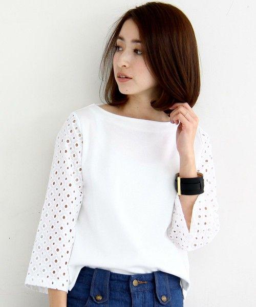 BEAUTY&YOUTH WOMENS(ビューティアンドユース ウィメンズ)のBY∵ 袖レース7分袖カットソー(Tシャツ/カットソー)|ホワイト