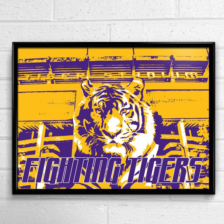 The LSU Tigers Fighting Tigers poster in the officially licensed 2014 LSU Poster Collection from Team Spirit Store. Great for all LSU fans students and alumni