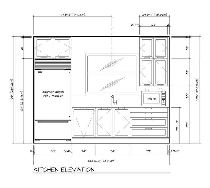 Kitchen Design Elevation: 21 Best Kitchen Drawings Plan, Elevation, Section Images