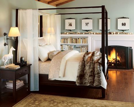 pottery barn bedrooms | Pottery Barn bedroom.. I hope that fur is faux!!! Otherwise, I fancy ...