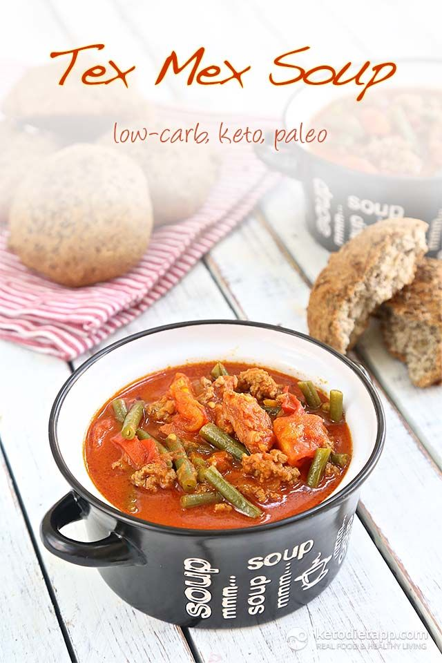 Low-carb Tex Mex Soup (paleo, keto) - the perfect comfort meal served with low-carb bread!