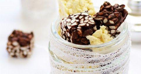 Deux recettes de carrés croustillants au riz soufflé chocolat noir ou chocolat blanc. Des mignardises très faciles et rapides qui se gardent bien.