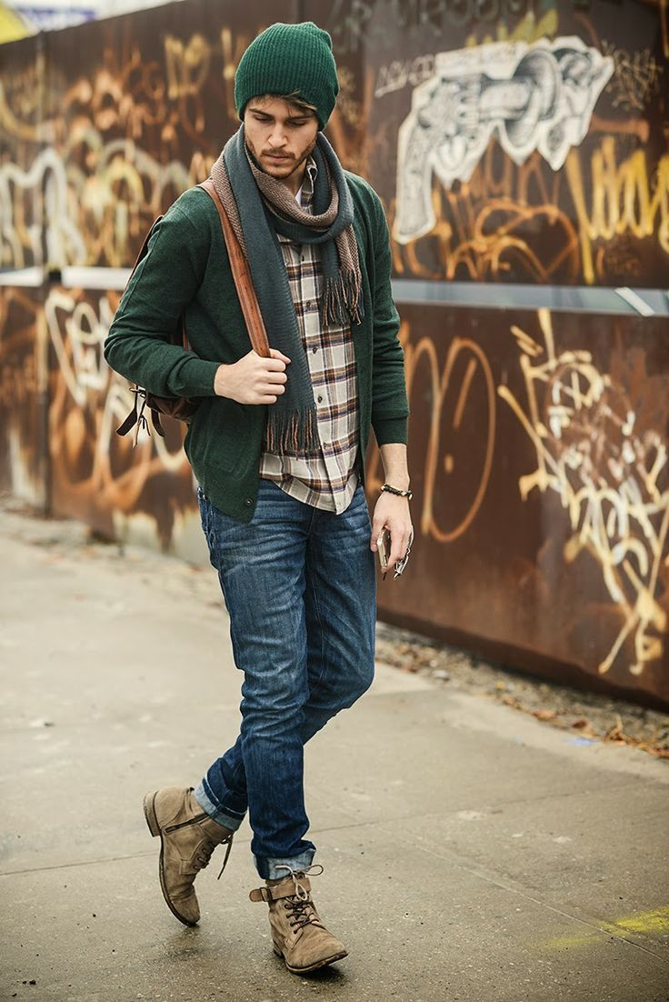 dark green cardigan, tartan brown longsleeve shirt, dark blue jeans, beige suede leather boots for men