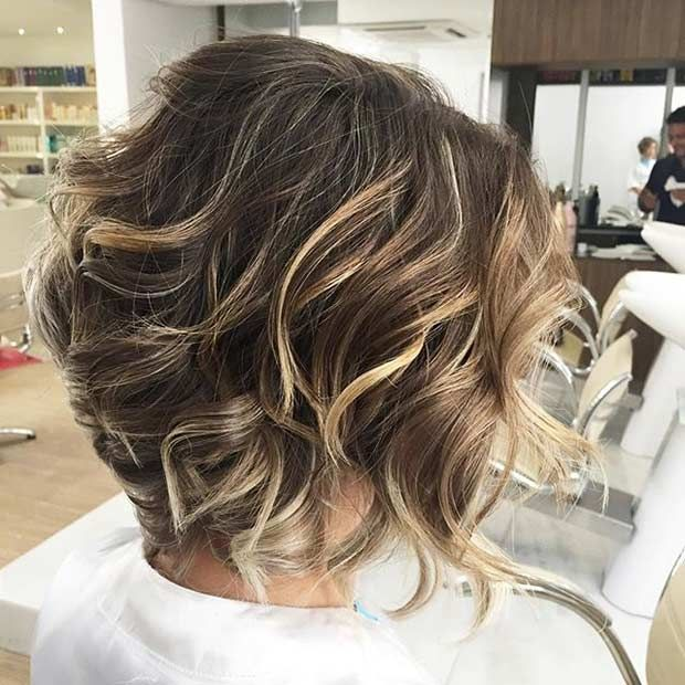 Curly, Short Layered Bob + Blonde Balayage Highlights