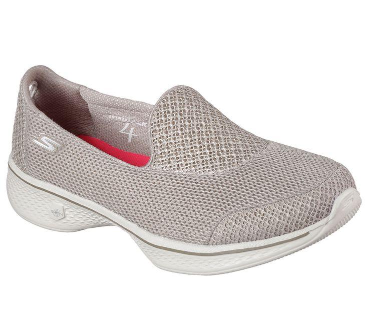 14170 Taupe Skechers Shoes Go Walk 4 Women Light Mesh Slip On Comfort Casual