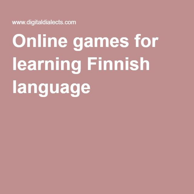 Online games for learning Finnish language