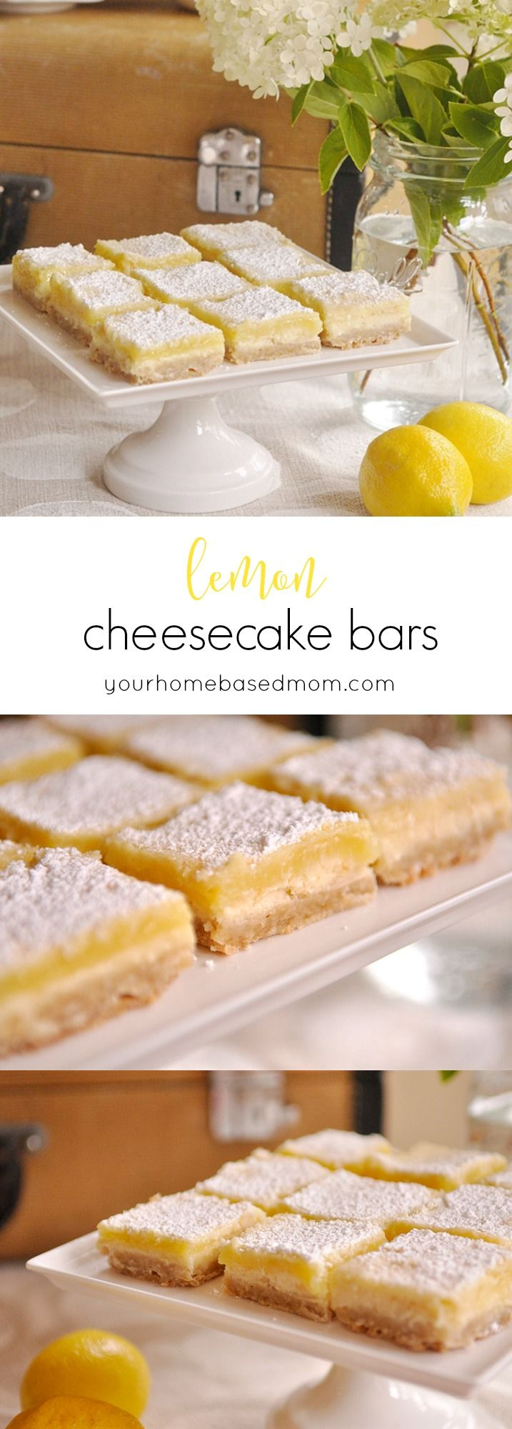 Lemon Cheesecake Bars - guaranteed to become your favorite lemon bar ever! A layer of cheesecake, then regular lemon bars on top!