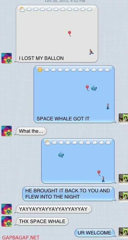 Hilarious Emoji Text Message About Balloon