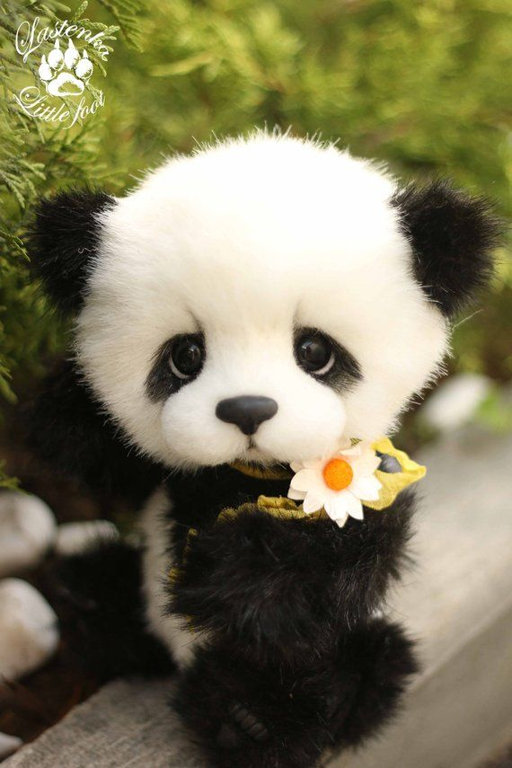 Panda Bear Rio Artist Stuffed Teddy Bear Ooak Handmade Plush Etsy Cute Panda Baby Baby Animals Pictures Cute Panda Wallpaper