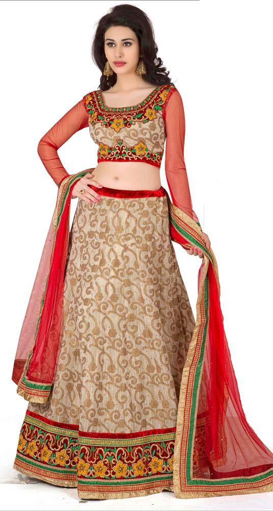 USD 101.26 Beige Banarasi Jacquard Wedding Lehenga Choli 47487