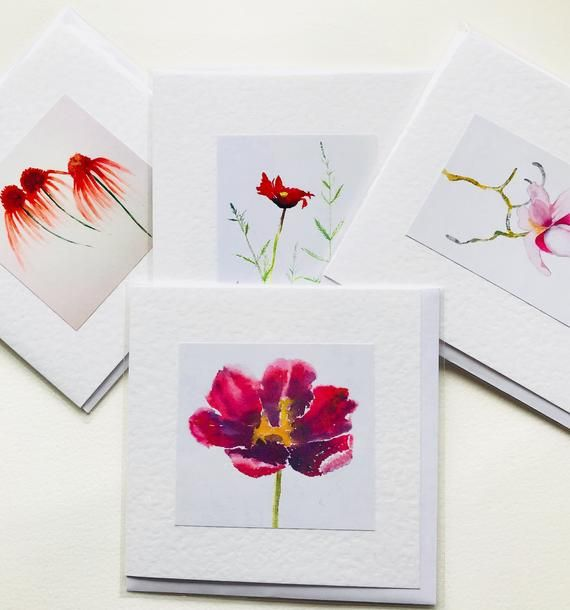 Watercolour Cards 4 Floral Note Cards Note Cards Watercolor