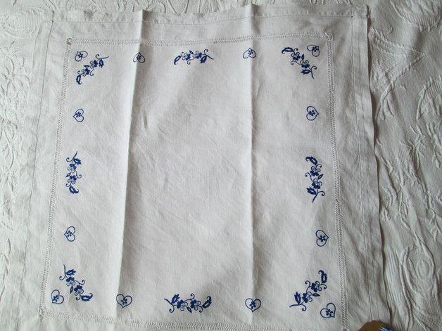 Vintage Tischdecken - Blaudruck Tischdecke feines altes Leinen Hohlsaum - ein Designerstück von Eva-Kensington bei DaWanda